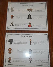 Two laminated Zoo Animals Theme Dry Erase Tracing Worksheets. Preschool Zoologoy
