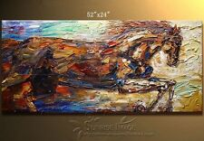 "YH776B 52*24""Hand painted Oil Canvas Wall Art home Abstract HORSE NO Frame"