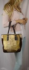 COACH SIGNATURE Suede Patchwork Gold Holiday Gallery Tote Shoulder Bag