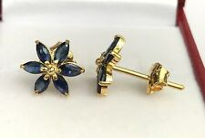 14k Solid Yellow Gold Cluster Star Stud Earrings,Natural Sapphire 1.8TCW