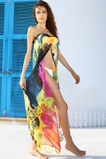 New Beach Wear Yellow Floral Print Chiffon Cover Up Wrap Skirt Swimsuit Dress