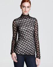 Diane von Furstenberg Black Pale Mauve Fan Lace No Band Surya L/S Top NWT 4