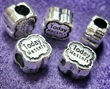 5P LOT Today Matters Motivational Words European Double Sided Beads Charms