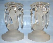 Pair Vtg Antique EAPG Frosted Glass Dophin Fish Candle Holders w/ Crystal Prisms