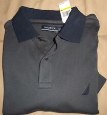 NAUTICA  Mens Solid Steel GRAY  Polo Shirt Short Sleeve size M NEW $50