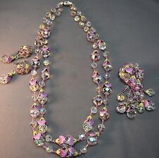 RARE & SUPERB Vendome Crystal Necklace, Brooch & Earrings w/Enamel Bead Caps!
