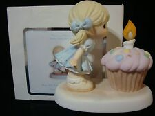 yj Precious Moments-Girl/Candle/Birthday Cake-May All Your Wishes Come True