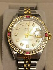 Diamonds, Rubies, 18K gold s/s ROLEX datejust Oyster Superlative chrono EX Cond