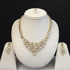 CLEAR GOLD INDIAN COSTUME JEWELLERY NECKLACE EARRINGS CRYSTAL SET BRIDAL NEW