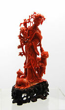 Chinese carved red coral group of woman and child deer bird 18cm 342g