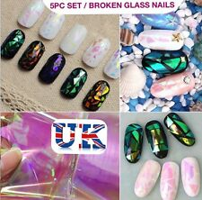5pc x 20cm BROKEN GLASS NAILS SHELL EFFECT FOIL Art TREND Shattered UK SELLER