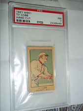 TY COBB 1921 PSA 7 BASEBALL CIGARETTE CARD HAND CUT W-551 STRIP CARD PSA NM 7