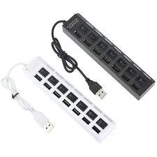 7 Ports LED USB 2.0 Adapter Hub Power on/off Schalter For PC Laptop Weiß Schwarz