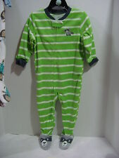 Carter's Boys Green Stripped Footed Raccoon Pajama  size 5T