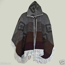 LLAMA HANDWOVEN WOOL MENS WOMANS UNISEX HOODED PONCHO CAPE COAT JACKET CLOAK