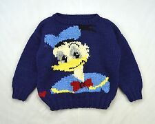 DONALD DUCK Vtg Wool Blue Fuzzy Knit Crop Tiny Fit 3/4 Sleeve Sweater Jumper S