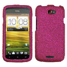 For T-Mobile HTC One S Crystal Diamond BLING Hard Case Snap Phone Cover Hot Pink