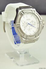 NWT Unisex Watch GUESS White Rubber Multifunction New U0247G1