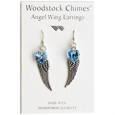 Woodstock Chimes Angel Wing Earrings - Swarovski Aquamarine Crystal Heart CWAQ