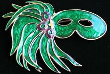 MUSICAL THEATER NEW ORLEANS MARDI GRAS MASQUERADE PARTY MASK PIN BROOCH 2 3/4""