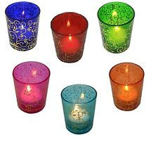 6 x Moroccan Tea Light Candle Holders Colour Glass Tealight Wedding Party Votive