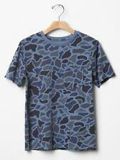Gap Kid Boys Tee Shirt XL 12 Blue Camo Crew Neck Pocket Cotton Short Sleeve New