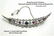 18ct Gold Diamond Sapphire & Ruby Crescent Brooch Pin Stunning! Early Victorian