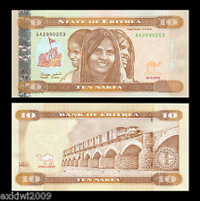 Eritrea 10 Nakfa 2012 P-12 First Prefix Mint UNC Uncirculated Banknotes