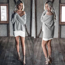 Womens Sexy Off the Shoulder Solid Chunky Sweater Baggy Cable Knit Jumper Tops
