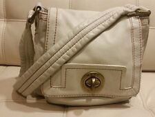 MARC BY MARC JACOBS Off White Leather Flap Turnlock Shoulder Bag