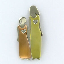 Far Fetched MOTHER DAUGHTER Love PIN Brooch Mima Oly Family Silver Brass Copper