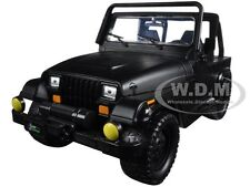 1992 JEEP WRANGLER W/EXTRA WHEELS MATT BLACK 1/24 DIECAST MODEL CAR JADA 98020