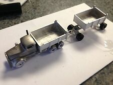 ULRICH 1/87 CLASSIC TANDEM  KENWORTH NEEDLE NOSE DOUBLE DUMP TRAILERS ALL METAL