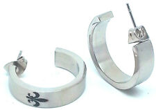 Silver Floral Half Circle J Hoop C Ring Post Earring Ear Stud Studs Earrings