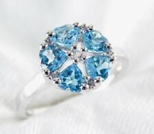 Genuine Blue Topaz 5 Stone Heart Ring 1.80ct  925 Sterling Silver Size 8.5