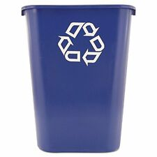 Rubbermaid Commercial Desk Side Recycling Container Trash Bin, Large, Blue, NEW