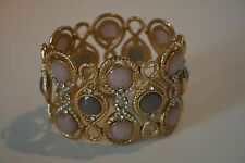 International Concepts Gold tone pink & gray rhinestone stretch bracelet