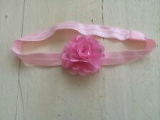 Baby Pink Baby / Girls Hairband Headband Alice Band Pink Side Flower Ballet