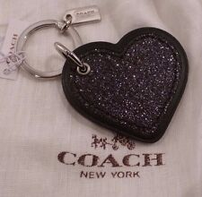 NWT COACH Black Glitter Heart Charm FOB Key Ring Chain 64352