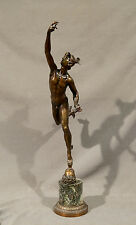 Early 20th Century Greek Mythology Icarus Bronze Statue with Marble Base