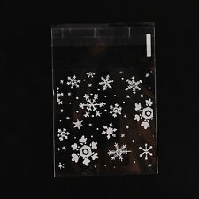100X Christmas Snowflake Cellophane Party Treat Cooky Candy Biscuits Gift Bags