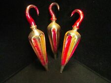 Antique Glass Figural Umbrella Christmas Tree Ornament Set of Three