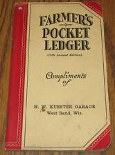 1944-1945 John Deere Farmers Pocket Ledger H W KUESTER GARAGE  WEST BEND WI 78th