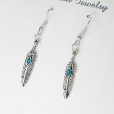 12 x Wholesale Vintage Silver Dangling Dangle Tribal Feather Turquoise Earrings