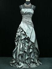Cherlone Plus Size Satin Grey Lace Prom Ball Gown Wedding/Evening Dress UK 22-24