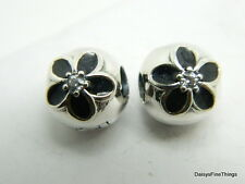 NEW! AUTHENTIC PANDORA  MYSTIC FLORAL CLIPS (2)  #791408CZ HINGED BOX INCLUDED