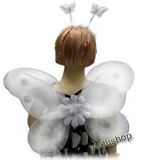 3 pièces Ailes de fées +Prêt pour les cheveux + Baguette magique Costumes blanc