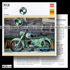 #016.06 PUCH 125 SV 1956 Fiche Moto Classic Motorcycle Card