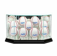 New 9 Ball Baseball Display Case MLB Glass & Mirror Black Molding FREE SHIPPING