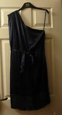 Untold House Of Fraser Midnight Blue One Shoulder Silk Dress Size 10 BNWT £125
